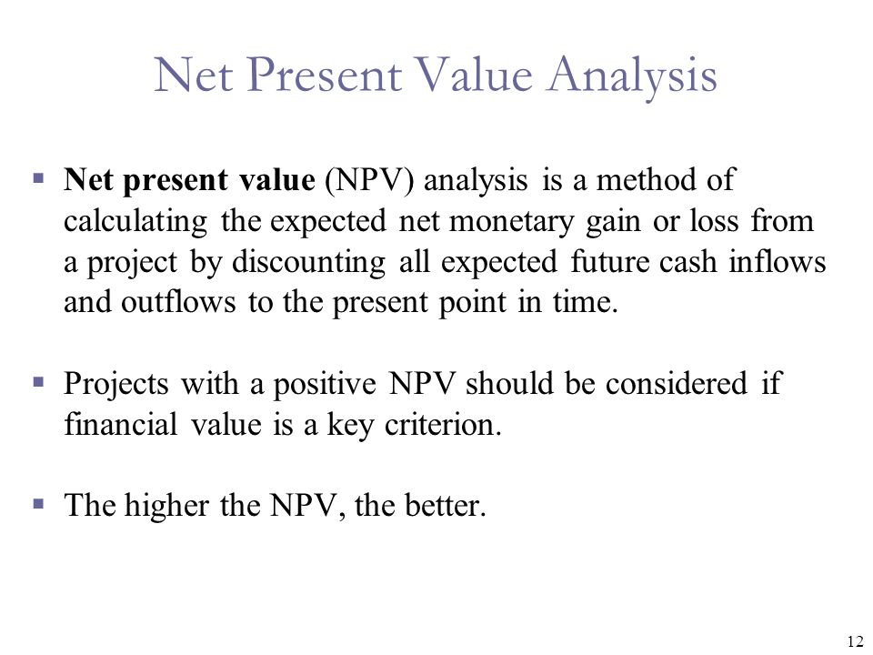 Net Present Value Analysis