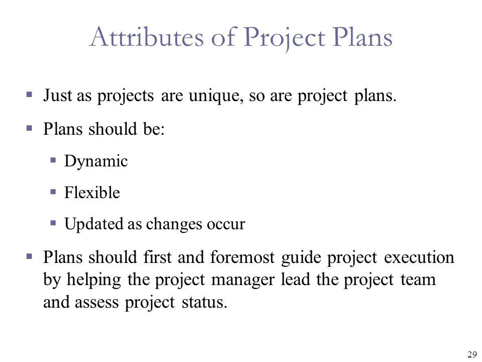 Attributes of Project Plans