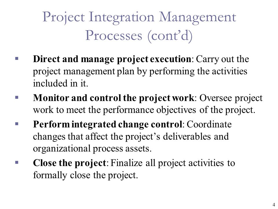 Project Integration Management Processes (cont'd)