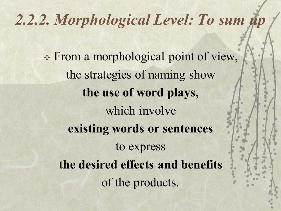 2.2.2. Morphological Level: To sum up