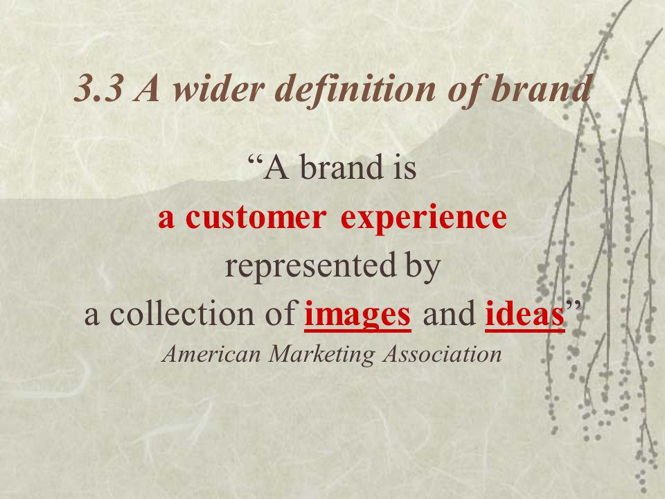 3.3 A wider definition of brand