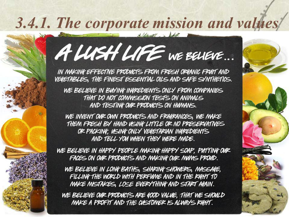 The corporate mission and values