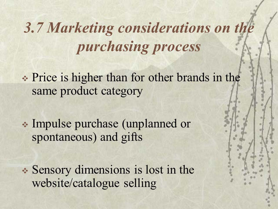 3.7 Marketing considerations on the purchasing process