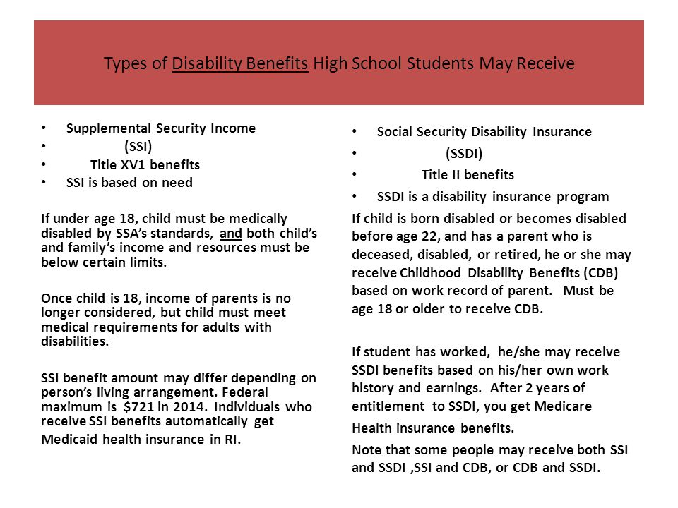 Transition students and disability benefits ppt download types of disability benefits high school students may receive ccuart Choice Image