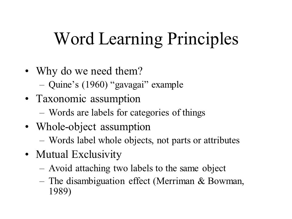 Semantic Development Acquisition of words and their ...