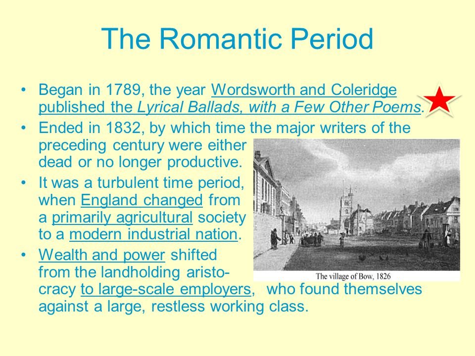 the beginnings of the romantic period The romantic period: music history, composers and pieces the romantic  period in music was from about 1820 to 1910 it's typically the era that  intermediate.