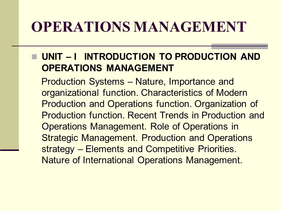 nature of international operations management essays Operations management is one of the important branch of management that deals with designing and controlling production and manufacturing process and redesigning of business operations for the final production of goods and services.