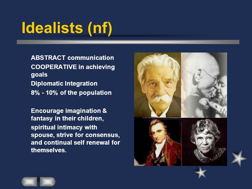 Idealists (nf) ABSTRACT communication COOPERATIVE in achieving goals