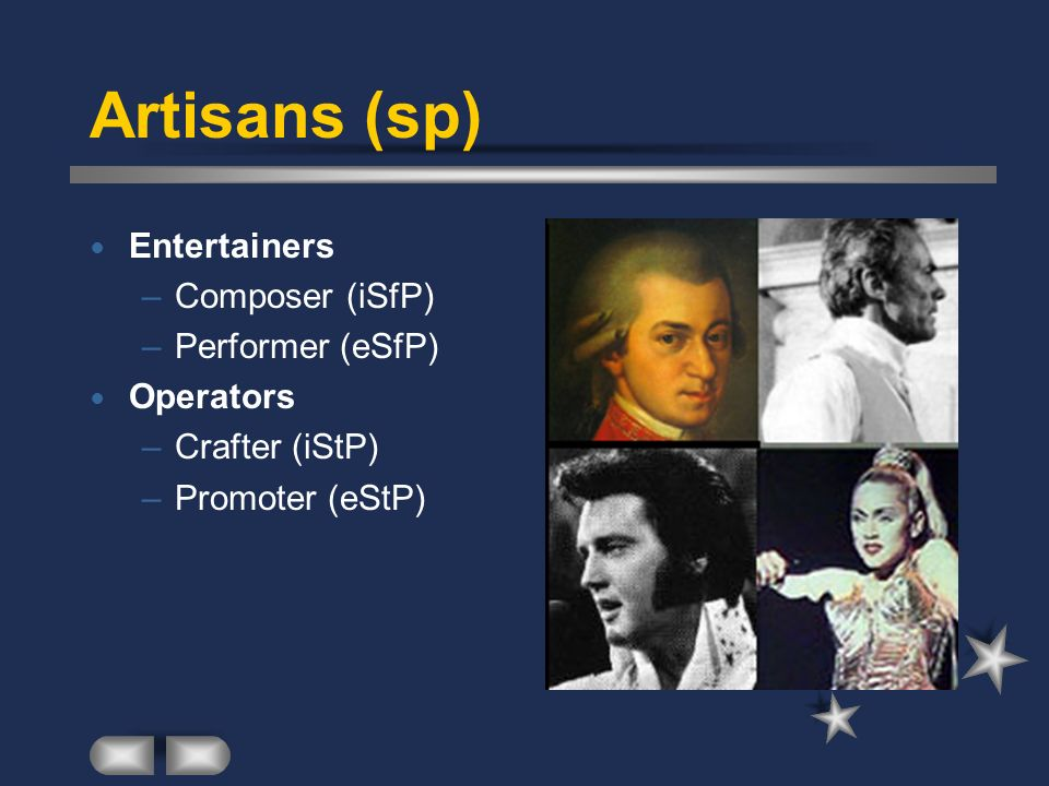Artisans (sp) Entertainers Composer (iSfP) Performer (eSfP) Operators