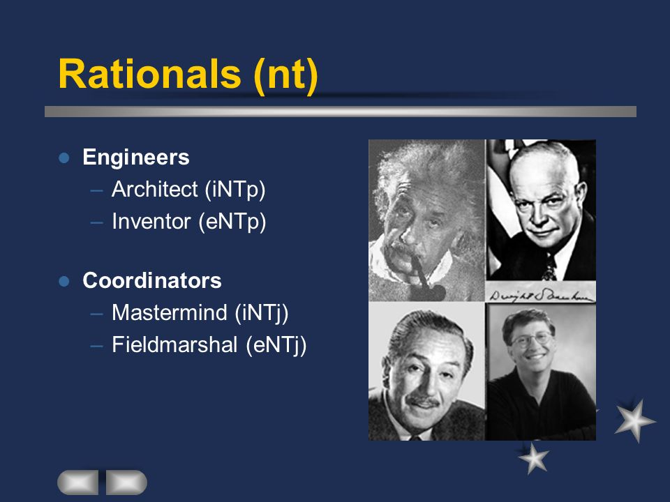Rationals (nt) Engineers Architect (iNTp) Inventor (eNTp) Coordinators