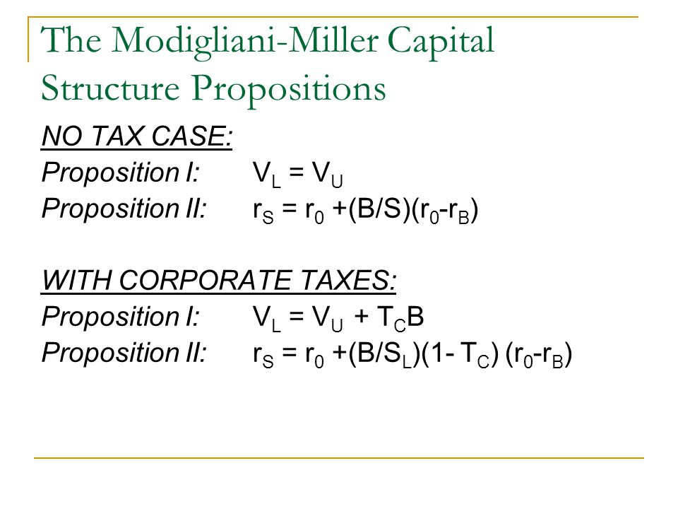 modligiani and millers capital structure theory Capital structure irrelevance theory a explain the modigliani-miller propositions  regarding capital structure, including the effects of leverage, taxes, financial.