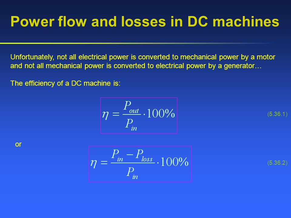 Power flow and losses in DC machines