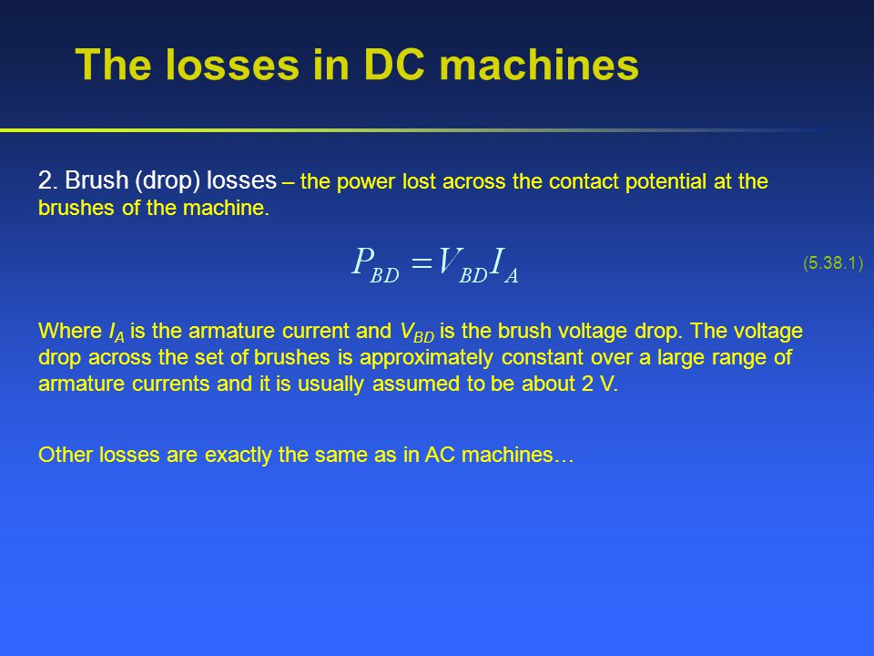 The losses in DC machines