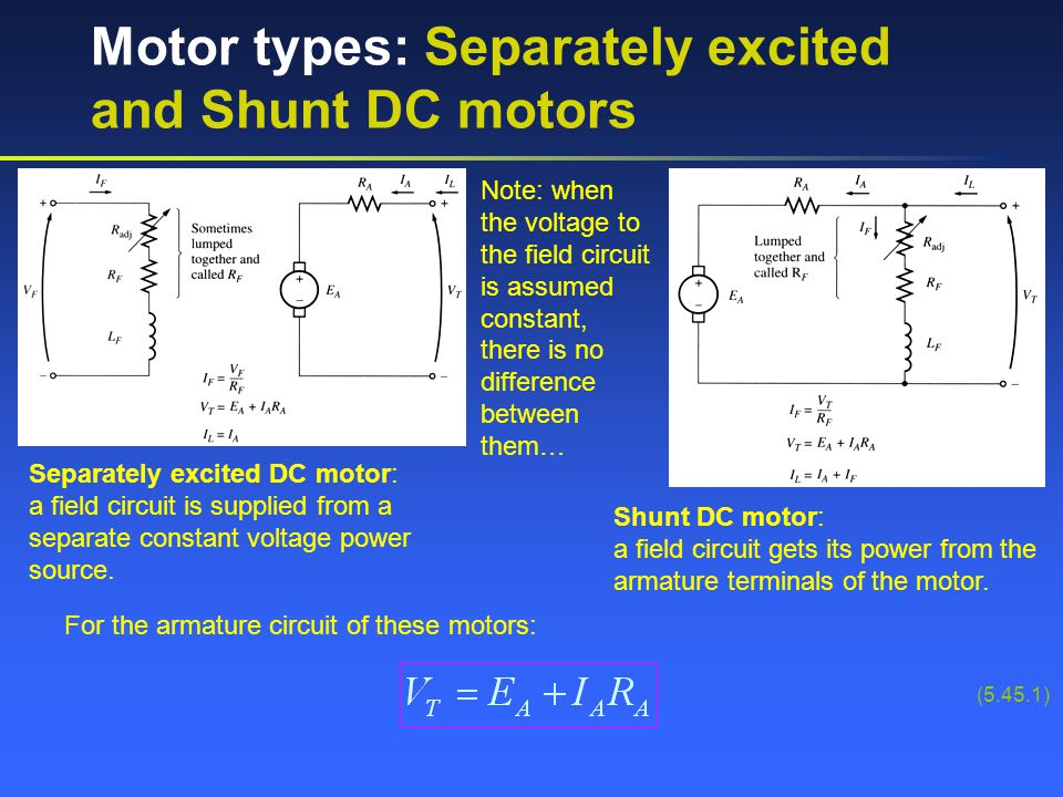 Motor types: Separately excited and Shunt DC motors