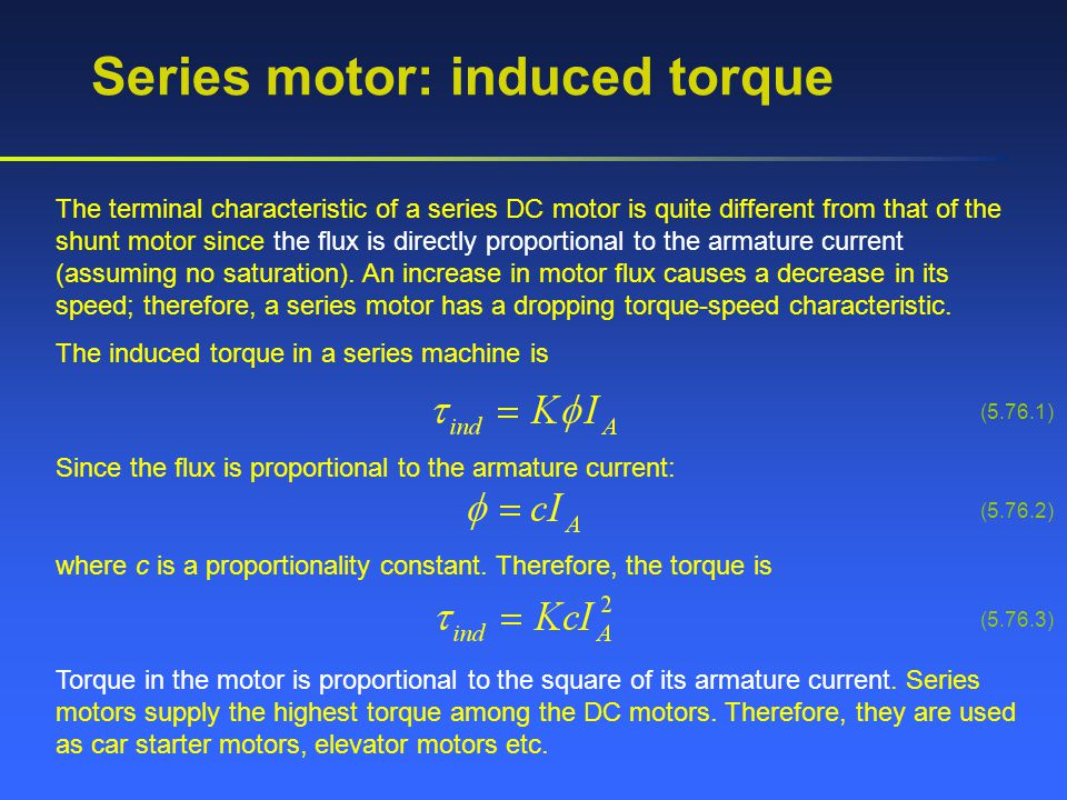 Series motor: induced torque
