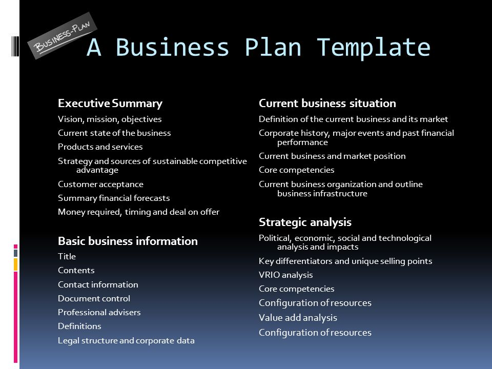 business plan structure definition english