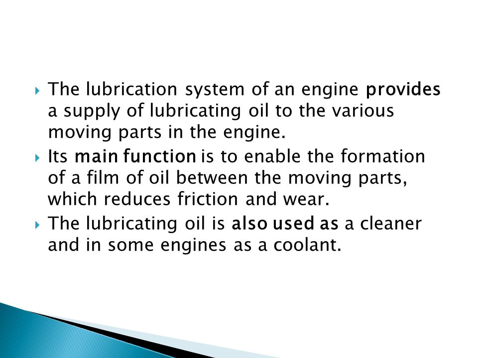 Lubricating oil system ppt download for What are the primary functions of motor oil