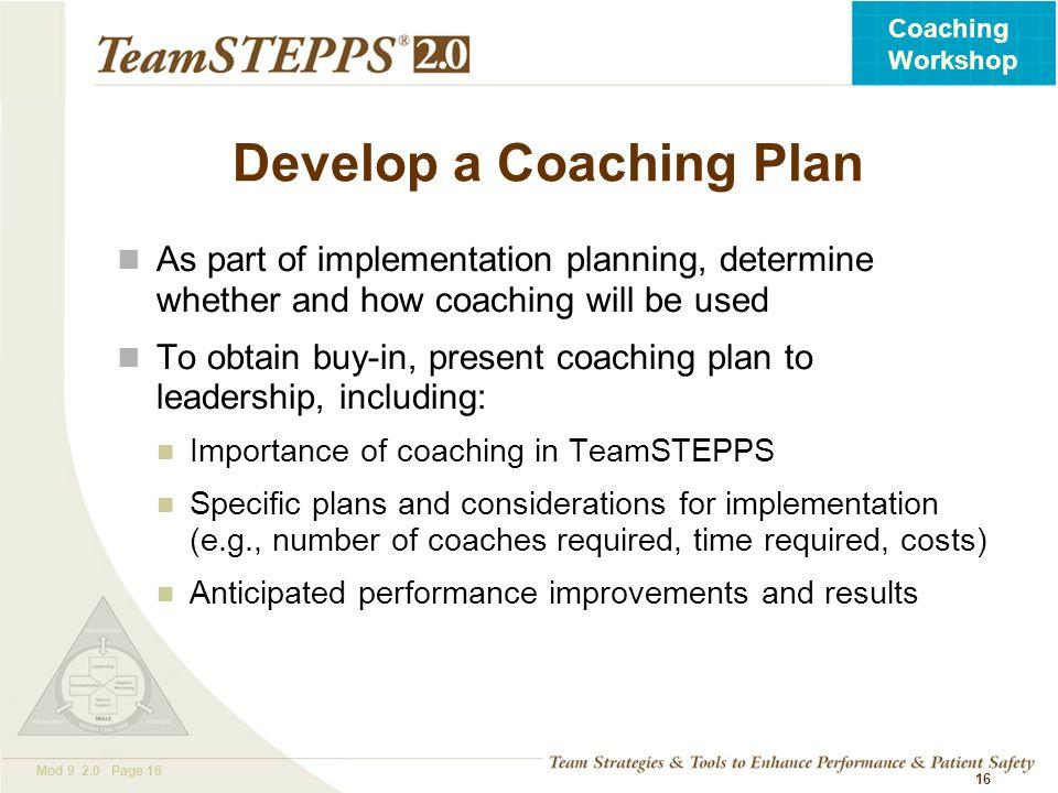 Develop a Coaching Plan