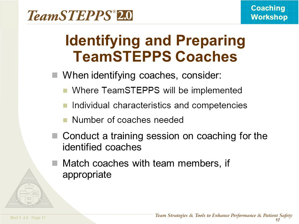 Identifying and Preparing TeamSTEPPS Coaches