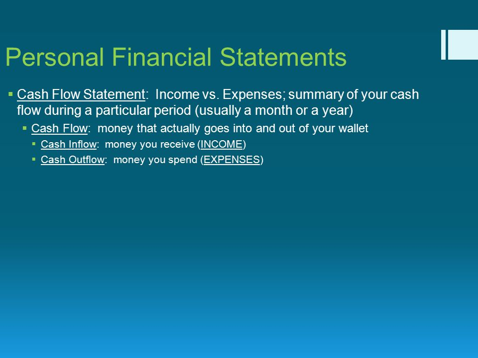 personal financial statements usually consist of Financial accounting (explanation)  introduction to financial accounting  financial statements financial accounting generates the following general-purpose,.