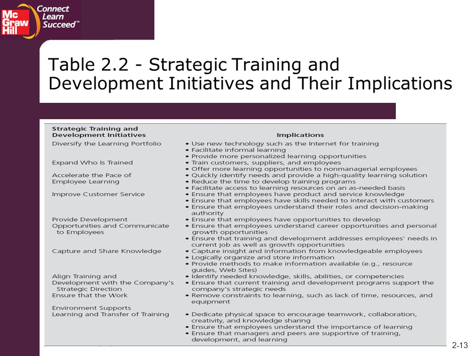 Table Strategic Training and Development Initiatives and Their Implications