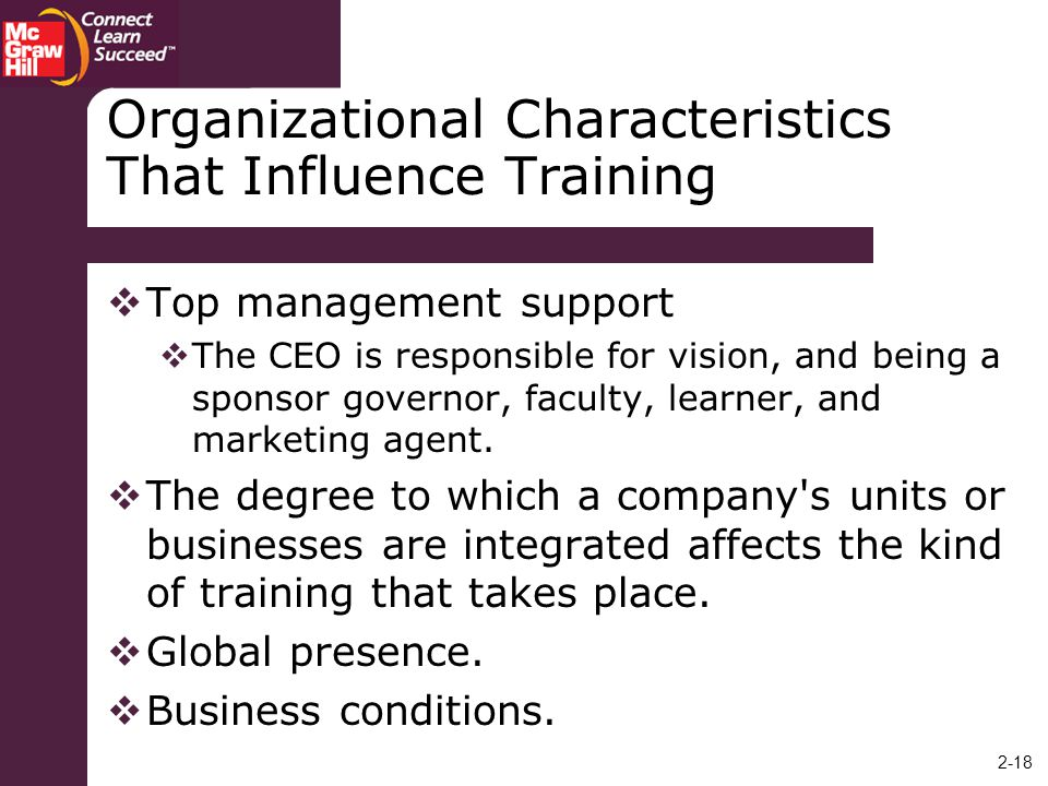 Organizational Characteristics That Influence Training