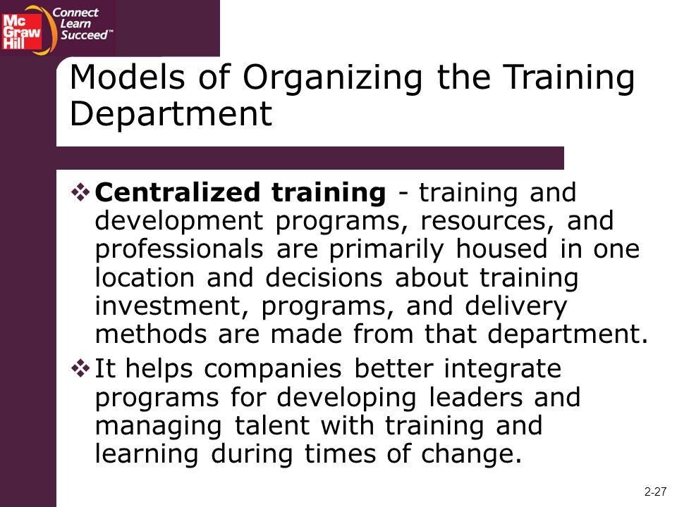 Models of Organizing the Training Department