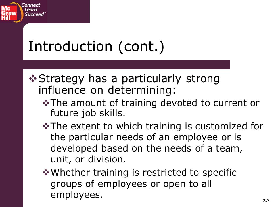 Introduction (cont.) Strategy has a particularly strong influence on determining: The amount of training devoted to current or future job skills.