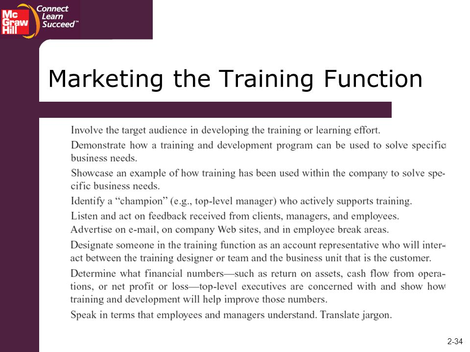 Marketing the Training Function
