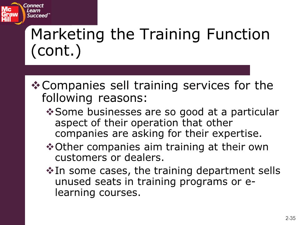 Marketing the Training Function (cont.)