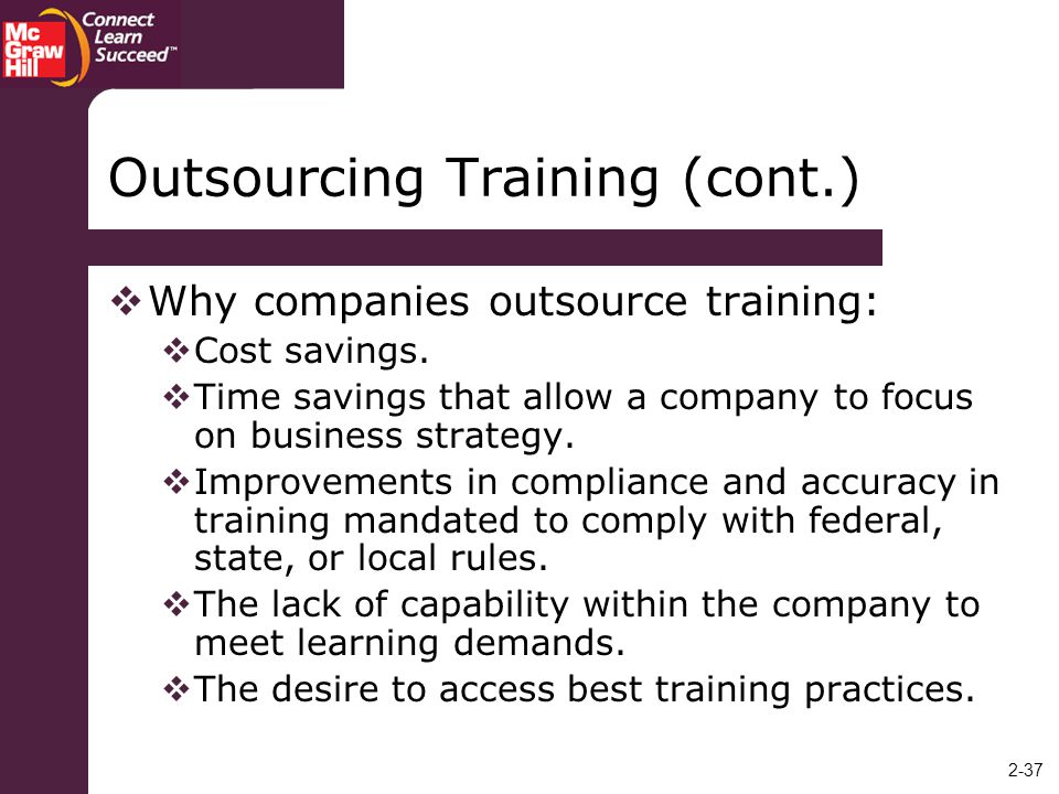 Outsourcing Training (cont.)