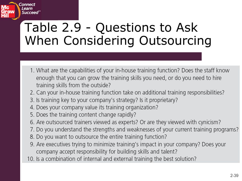 Table Questions to Ask When Considering Outsourcing