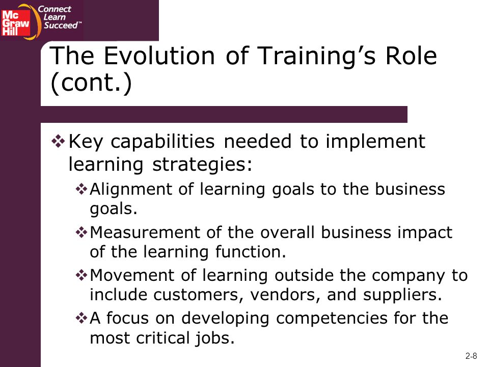 The Evolution of Training's Role (cont.)