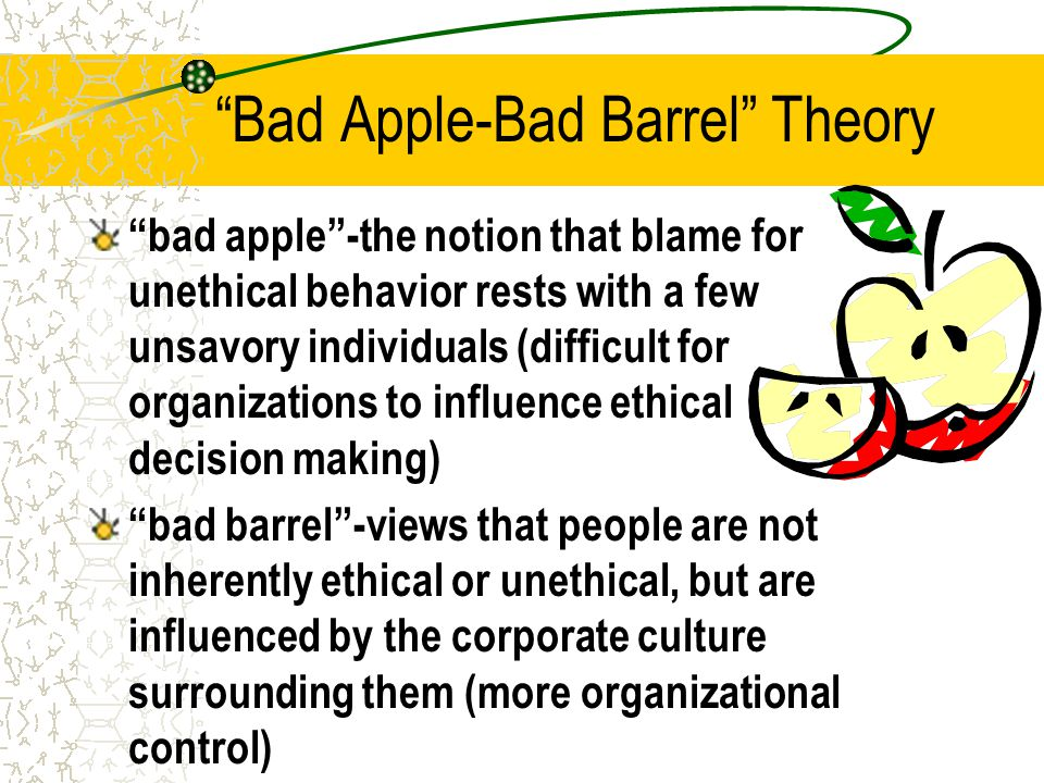 Bad Apple-Bad Barrel Theory