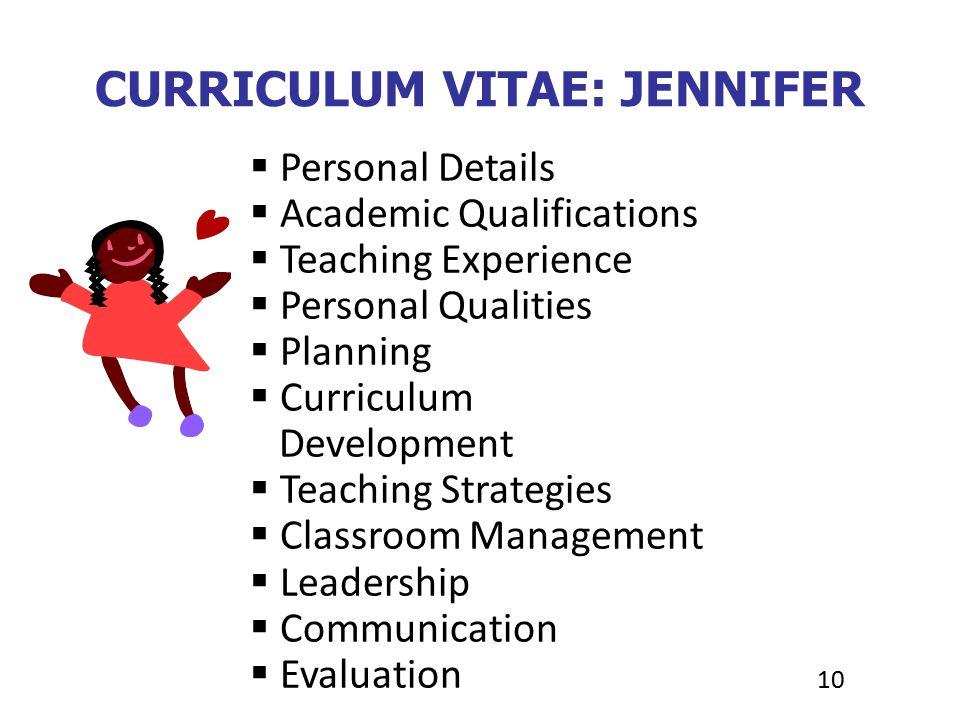 personal qualities curriculum vitae 28 images