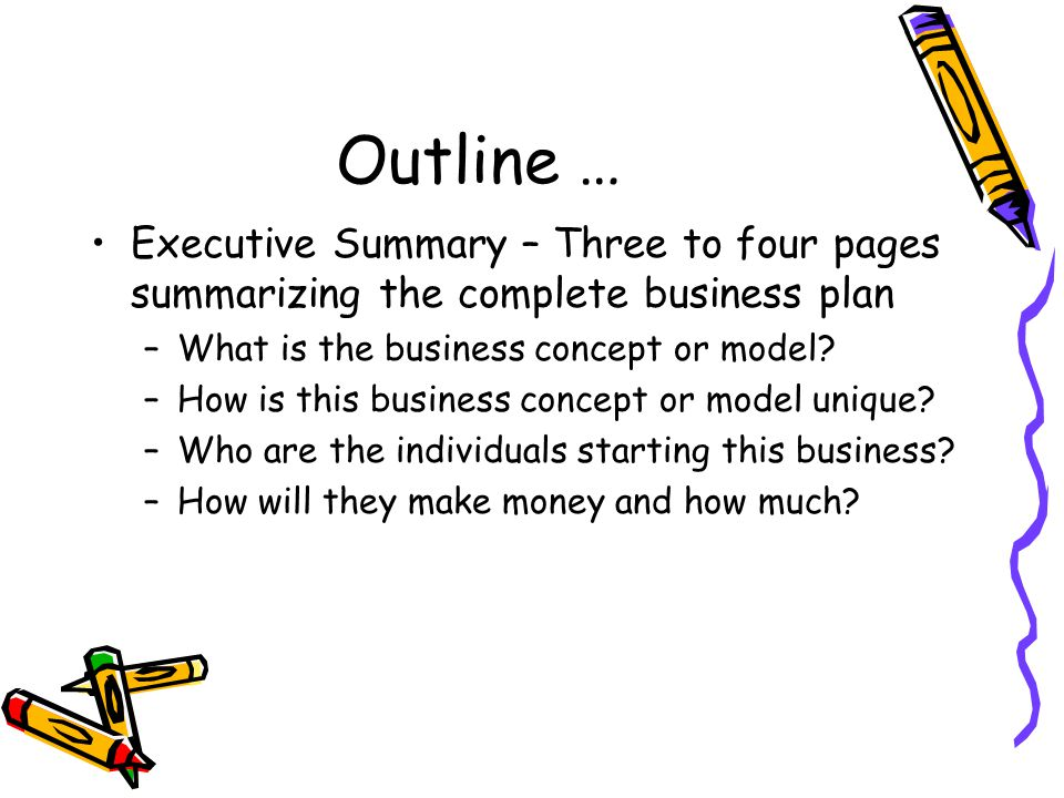 Outline … Executive Summary – Three to four pages summarizing the complete business plan. What is the business concept or model
