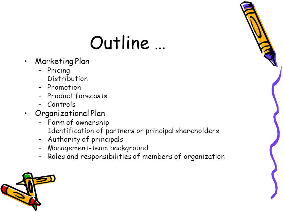 Outline … Marketing Plan Organizational Plan Pricing Distribution