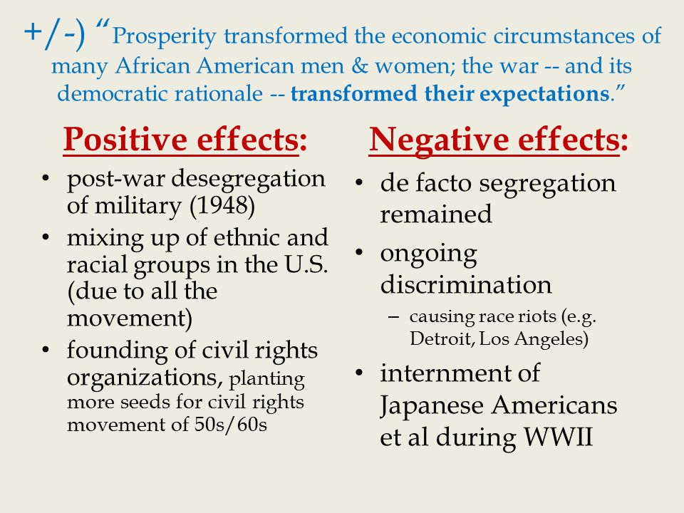 the positive and negative impact of ethnic quotas in america The timing is right for a history like this the world war ii generation is dying out, and america has reacted with as uc berkeley ethnic studies professor ronald takaki reminds us, was a very complex experience takaki's survey of the war's impact on americans of african.