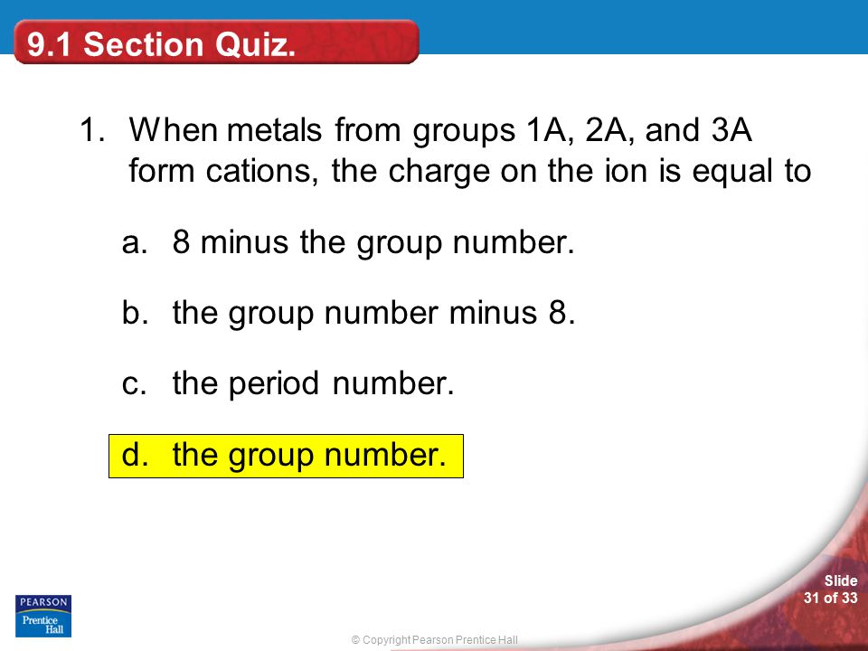 Chemistry ppt video online download 91 section quiz 1 when metals from groups 1a 2a and 3a urtaz Gallery