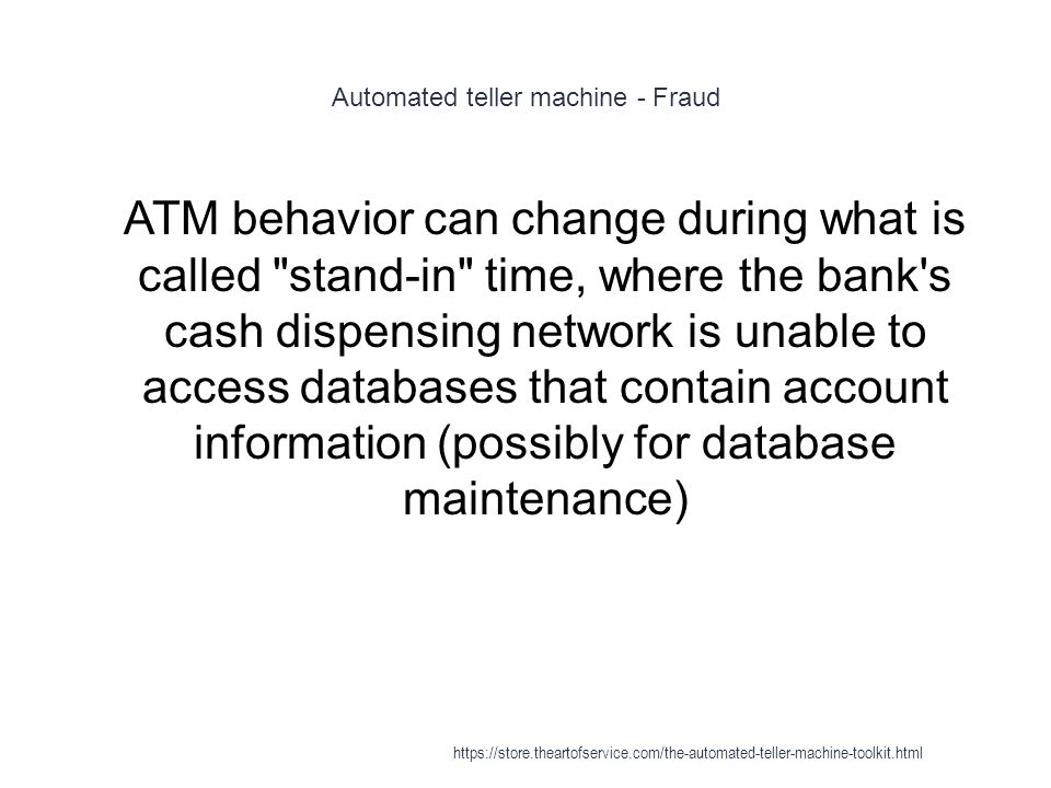 Automated teller machine - Fraud