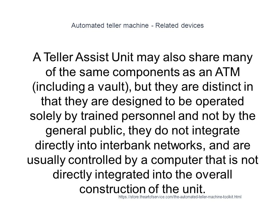 Automated teller machine - Related devices