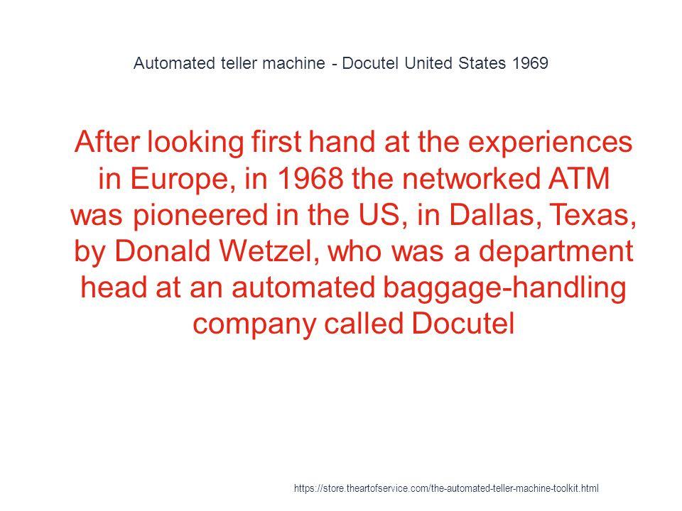Automated teller machine - Docutel United States 1969