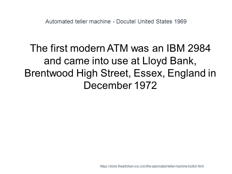 Automated teller machine - Docutel United States 1969