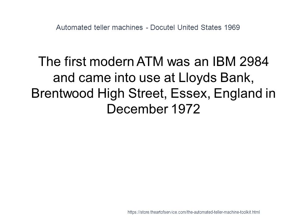 Automated teller machines - Docutel United States 1969