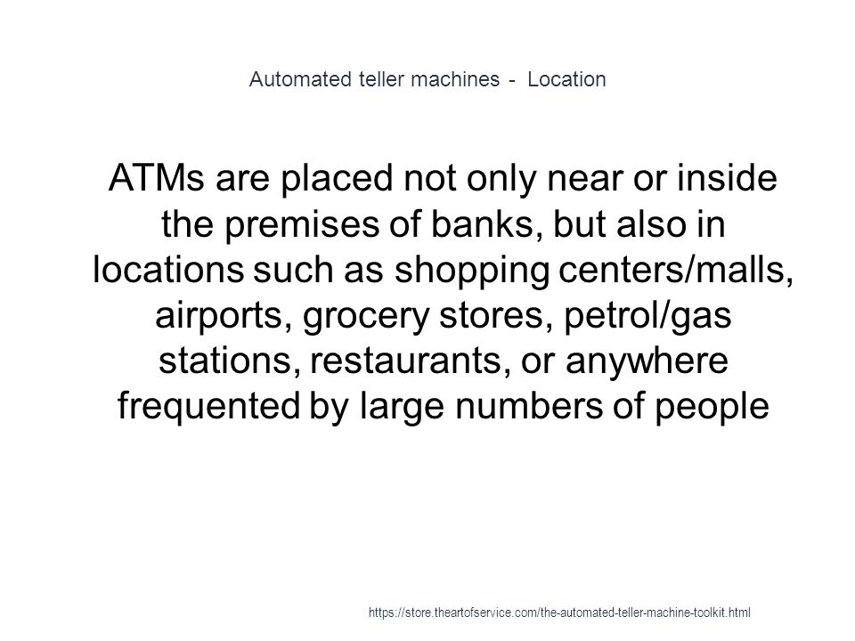 Automated teller machines - Location