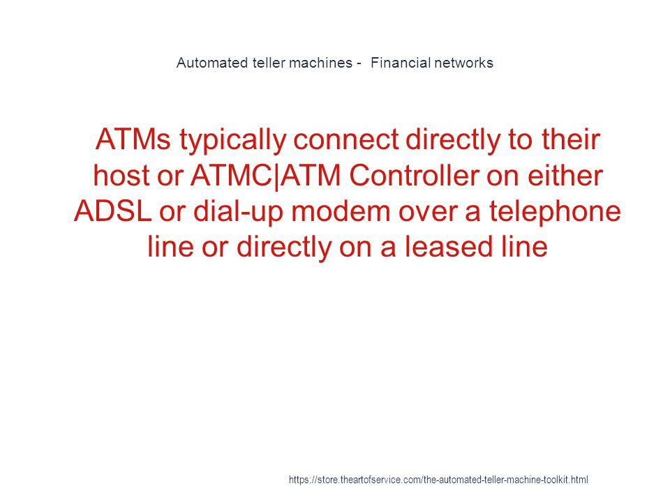 Automated teller machines - Financial networks