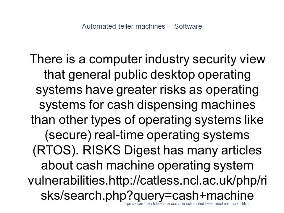Automated teller machines - Software