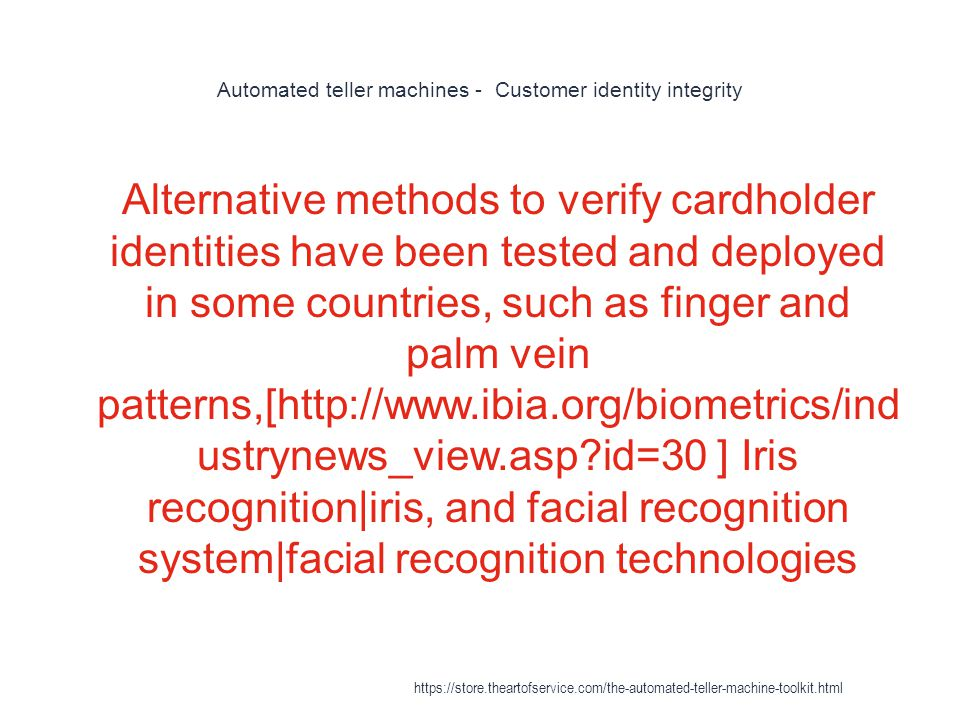 Automated teller machines - Customer identity integrity