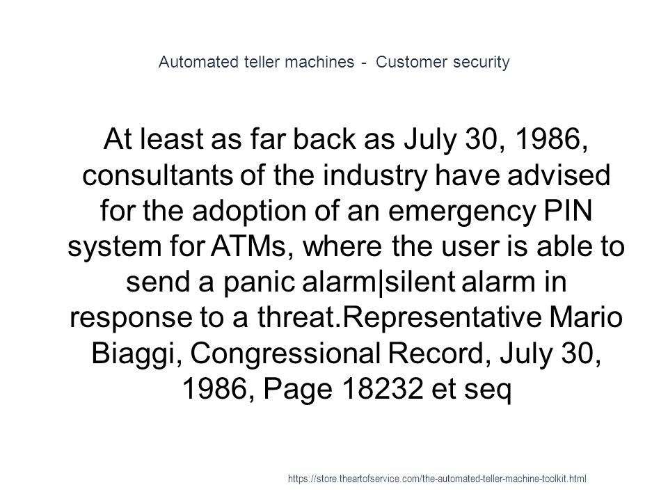Automated teller machines - Customer security