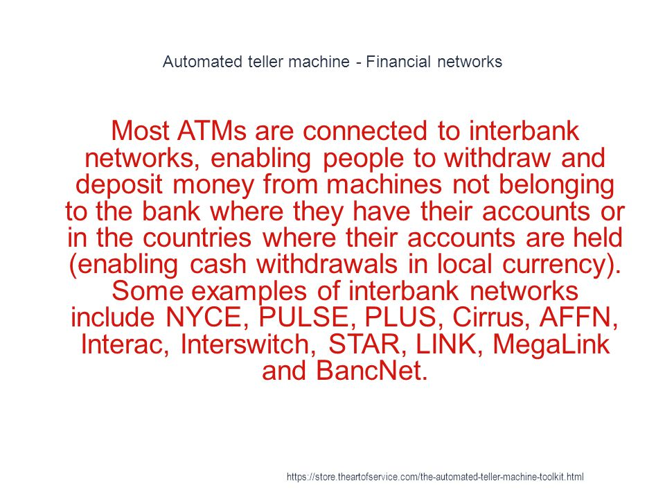 Automated teller machine - Financial networks